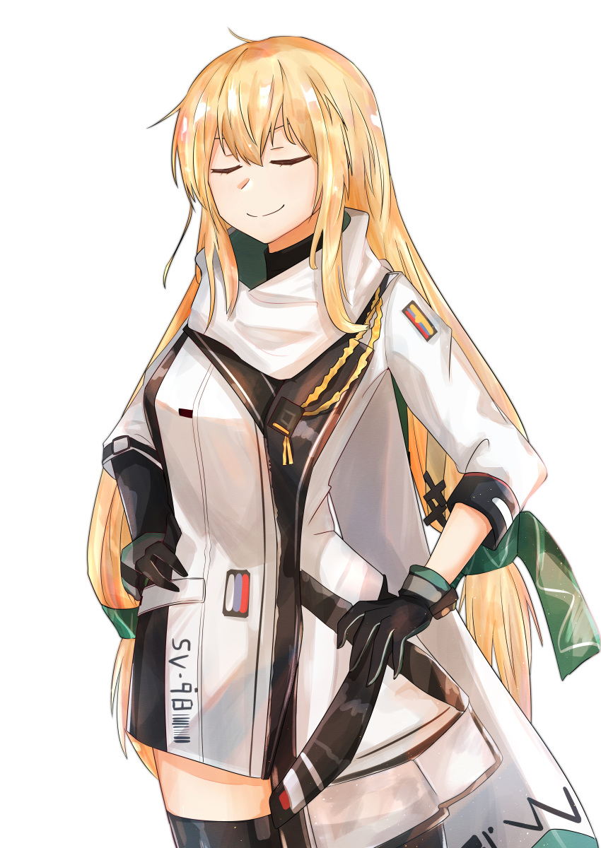 1girl absurdres black_gloves black_legwear blonde_hair closed_eyes closed_mouth english_text girls_frontline gloves green_ribbon hair_ribbon hands_on_hips highres huge_filesize long_hair muteppona_hito ribbon russian_flag scarf smile solo standing sv-98_(girls_frontline) thigh-highs uniform white_background white_scarf