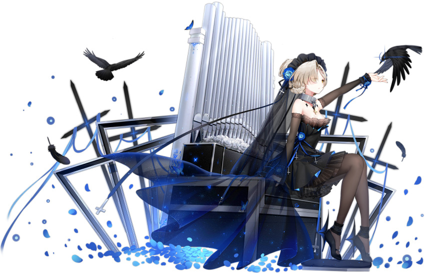 1girl animal arm_up arm_warmers azur_lane bare_shoulders bird black_dress black_footwear blue_flower brown_legwear collar dress flower full_body glint hair_flower hair_ornament high_heels highres instrument layered_dress looking_up maya_g official_art organ pantyhose petals raven_(animal) rose sheffield_(azur_lane) sheffield_(low-cut_elegance)_(azur_lane) short_dress short_hair silver_hair sitting sleeveless sleeveless_dress solo tied_hair transparent_background veil yellow_eyes