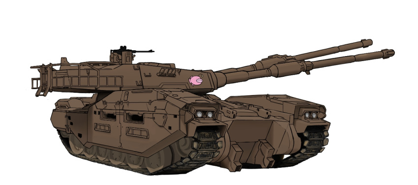 caterpillar_tracks commentary_request emblem girls_und_panzer ground_vehicle gun gundam gundam_ms_igloo hat machine_gun military military_hat military_vehicle mobile_suit_gundam motor_vehicle no_humans tank type_61_(gundam) weapon white_background wwwww_(sswwwww)