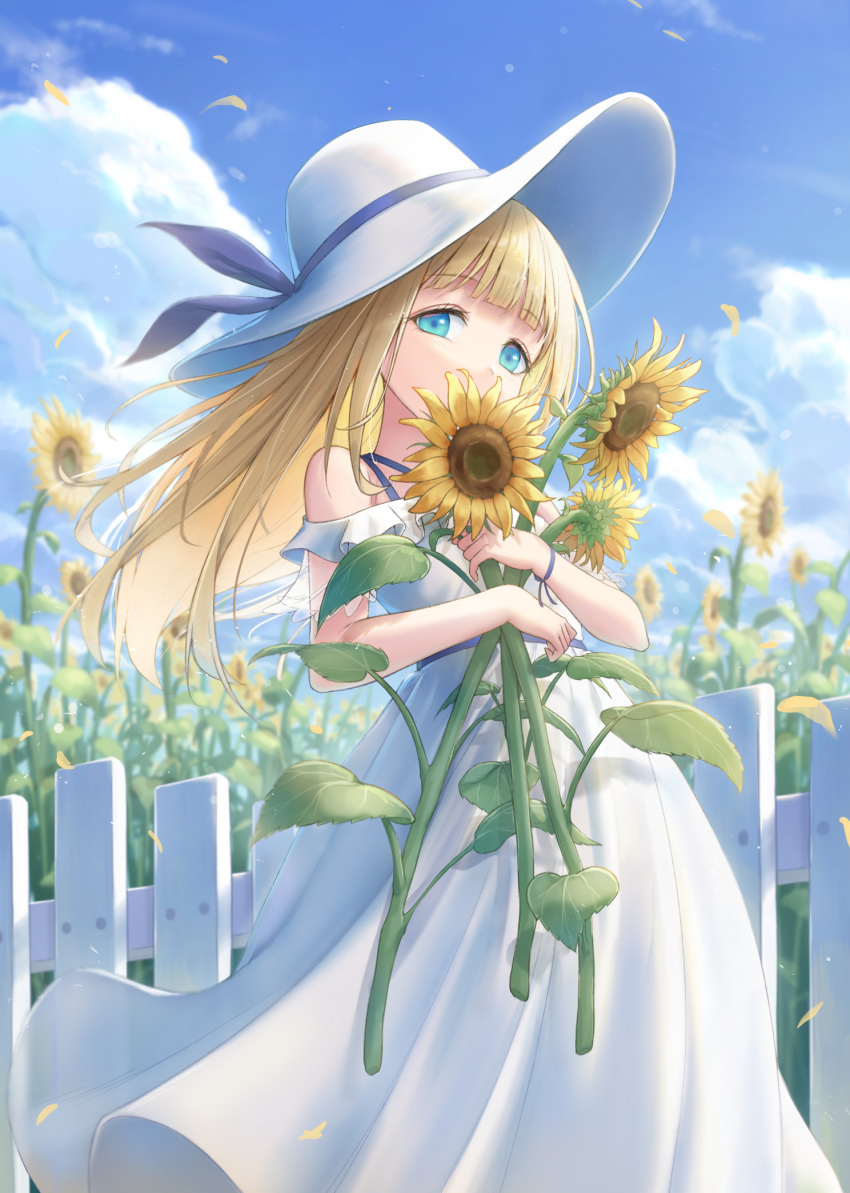 1girl aqua_eyes bangs bare_arms bare_shoulders blonde_hair blue_ribbon blue_sky blunt_bangs clouds day dress eyebrows_visible_through_hair feet_out_of_frame fence flower gohei_(aoi_yuugure) hat hat_ribbon highres holding holding_flower leaf long_hair looking_at_viewer off-shoulder_dress off_shoulder original outdoors ribbon sky solo standing sun_hat sunflower sunflower_petals white_dress white_headwear wristband