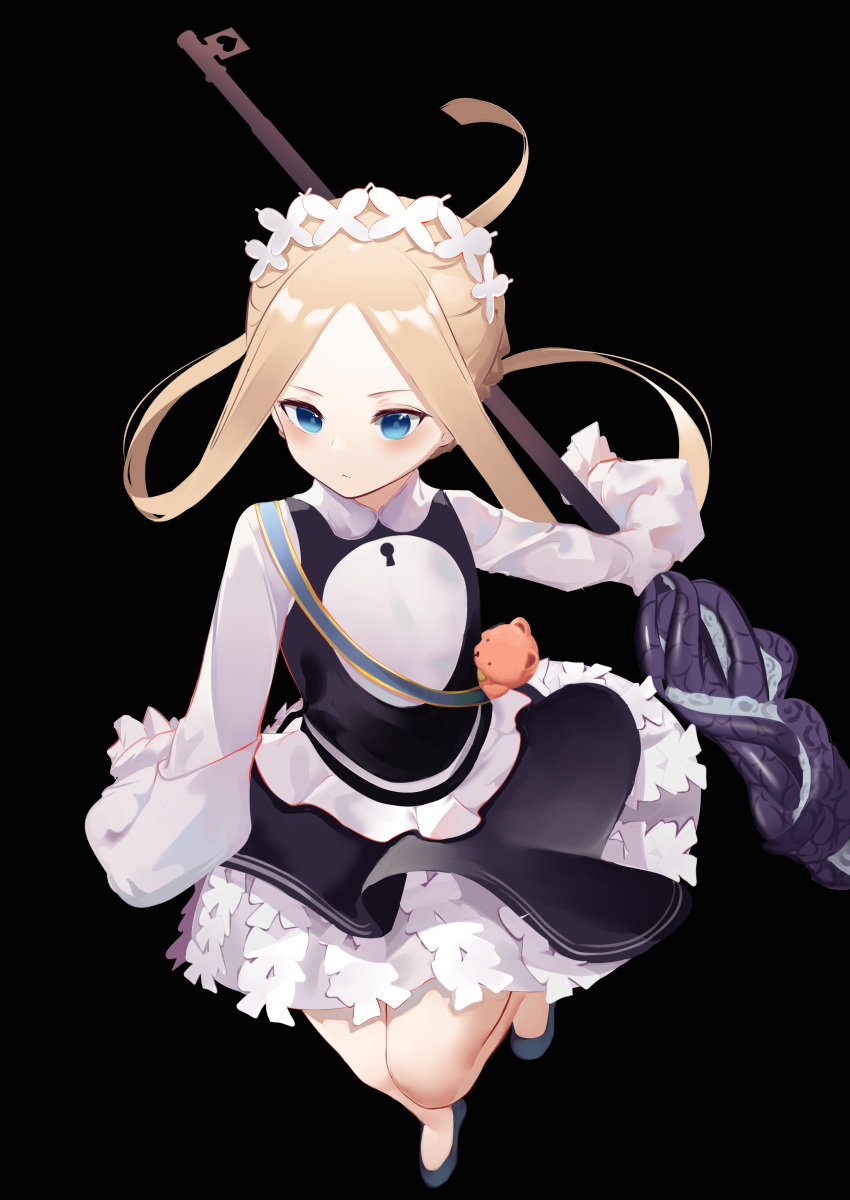 1girl abigail_williams_(fate/grand_order) absurdres alternate_costume bangs black_background blonde_hair blue_eyes blush breasts closed_mouth commentary dutch_angle enmaided fate/grand_order fate_(series) forehead from_above heroic_spirit_festival_outfit highres keyhole long_hair maid parted_bangs simple_background sleeves_past_fingers sleeves_past_wrists small_breasts solo standing very_long_sleeves zeppeki_shoujo