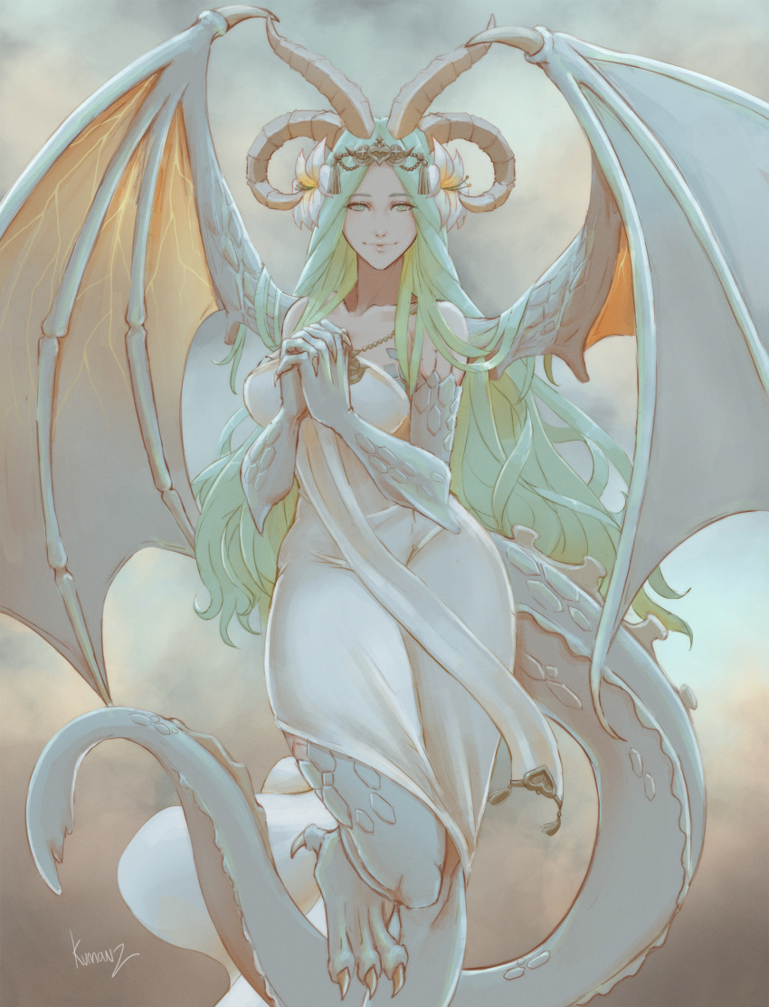1girl artist_name bare_shoulders breasts claws closed_mouth collarbone commentary_request dragon_girl dragon_horns dragon_tail dragon_wings dress fire_emblem fire_emblem:_three_houses flower foot_out_of_frame green_hair hair_flower hair_ornament highres horns jewelry kumanz large_breasts long_hair looking_at_viewer necklace own_hands_together rhea_(fire_emblem) scales solo tail wings