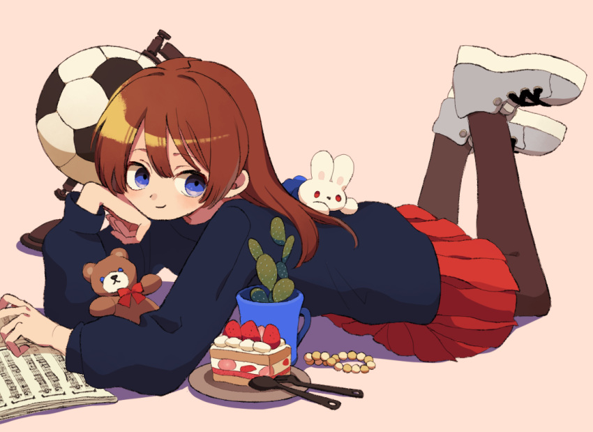 1girl ball bead_bracelet beads blue_shirt book bracelet bracelet_removed brown_hair cactus cake cake_slice closed_mouth cup food fork from_side grey_background jewelry ka_(marukogedago) long_hair looking_at_viewer looking_to_the_side lying mug on_back open_book original pantyhose pink_footwear pleated_skirt red_skirt sheet_music shirt shoes simple_background skirt smile soccer_ball solo spoon stuffed_animal stuffed_toy teddy_bear violet_eyes