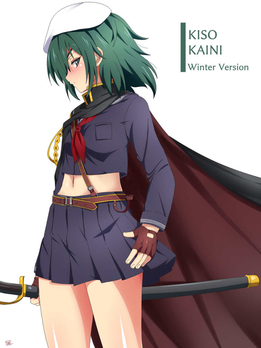 1girl alternate_costume bangs belt blue_sailor_collar blue_skirt blush breast_pocket breasts brown_gloves cape character_name closed_mouth eyepatch fingerless_gloves from_side gloves green_eyes green_hair hat highres holding holding_sheath holding_sword holding_weapon kantai_collection kiso_(kantai_collection) long_sleeves medium_breasts medium_hair midriff navel pleated_skirt pocket profile red_neckwear remodel_(kantai_collection) sailor_collar school_uniform sebunsu serafuku sheath sheathed simple_background skirt solo sword weapon white_background white_headwear