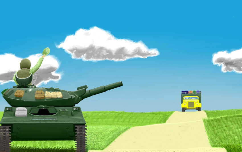 1boy can caterpillar_tracks clouds day glass ground_vehicle hat highres jerry_can m551_sheridan military military_hat military_uniform military_vehicle motor_vehicle original package sky tank trail truck uniform waving wwwww_(sswwwww)