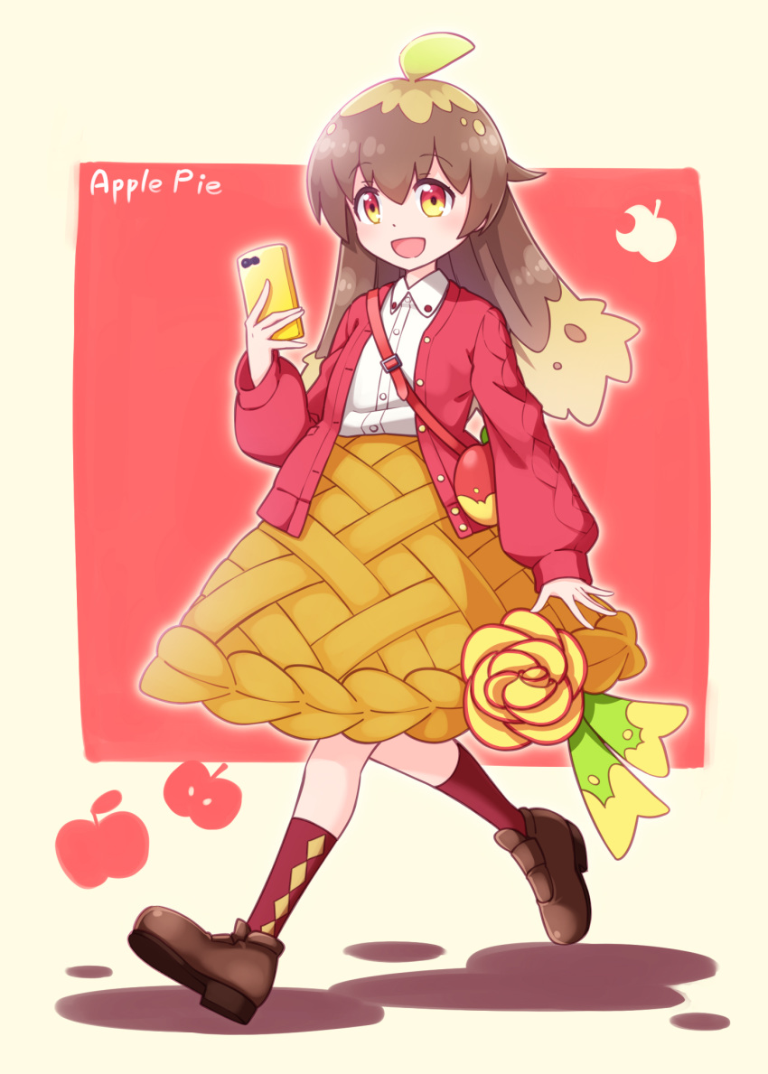 1girl :d ahoge apple_pie bag bangs brown_footwear brown_hair brown_skirt cellphone collared_shirt commentary_request dress_shirt eyebrows_visible_through_hair frilled_skirt frills full_body hair_between_eyes highres holding holding_phone jacket loafers long_hair long_sleeves multicolored multicolored_eyes open_clothes open_jacket open_mouth original personification phone puffy_long_sleeves puffy_sleeves red_eyes red_jacket red_legwear sansei_rain shirt shoes shoulder_bag skirt sleeves_past_wrists smile socks solo walking white_shirt yellow_eyes