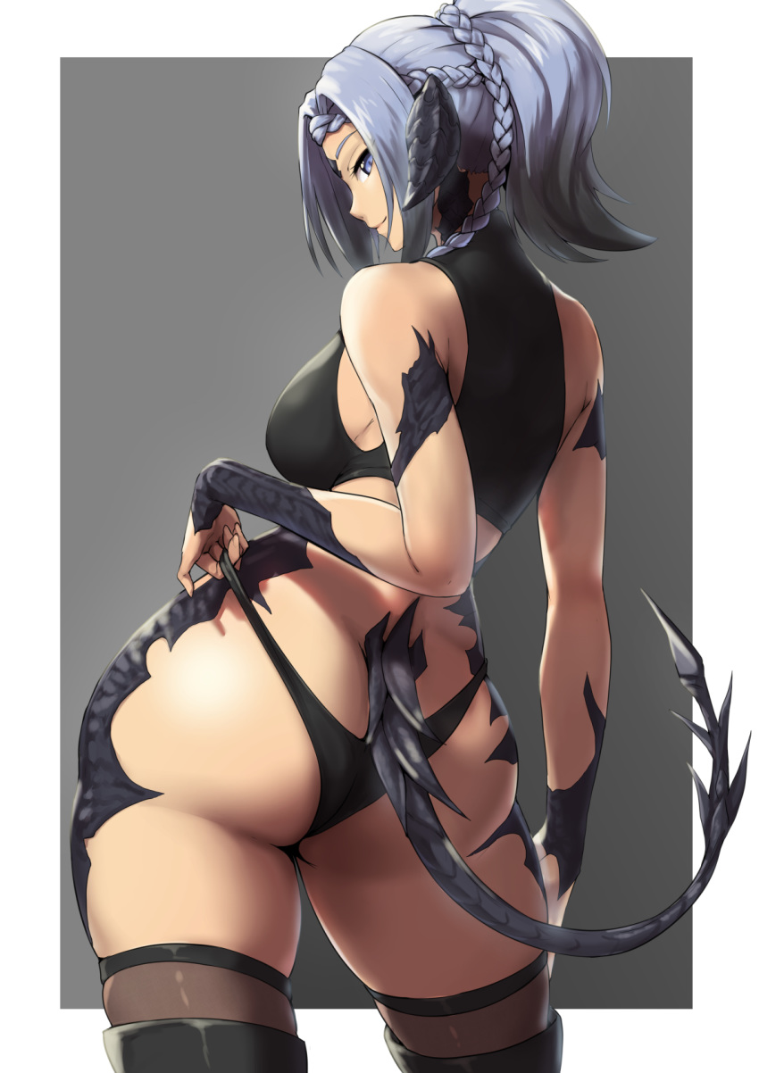1girl ass au_ra black_hair black_horns blue_hair braid breasts dragon_girl dragon_horns dragon_tail final_fantasy final_fantasy_xiv from_behind highres horns large_breasts looking_at_viewer looking_back packge panties ponytail scales shiny shiny_hair short_hair solo square_enix standing tail underwear