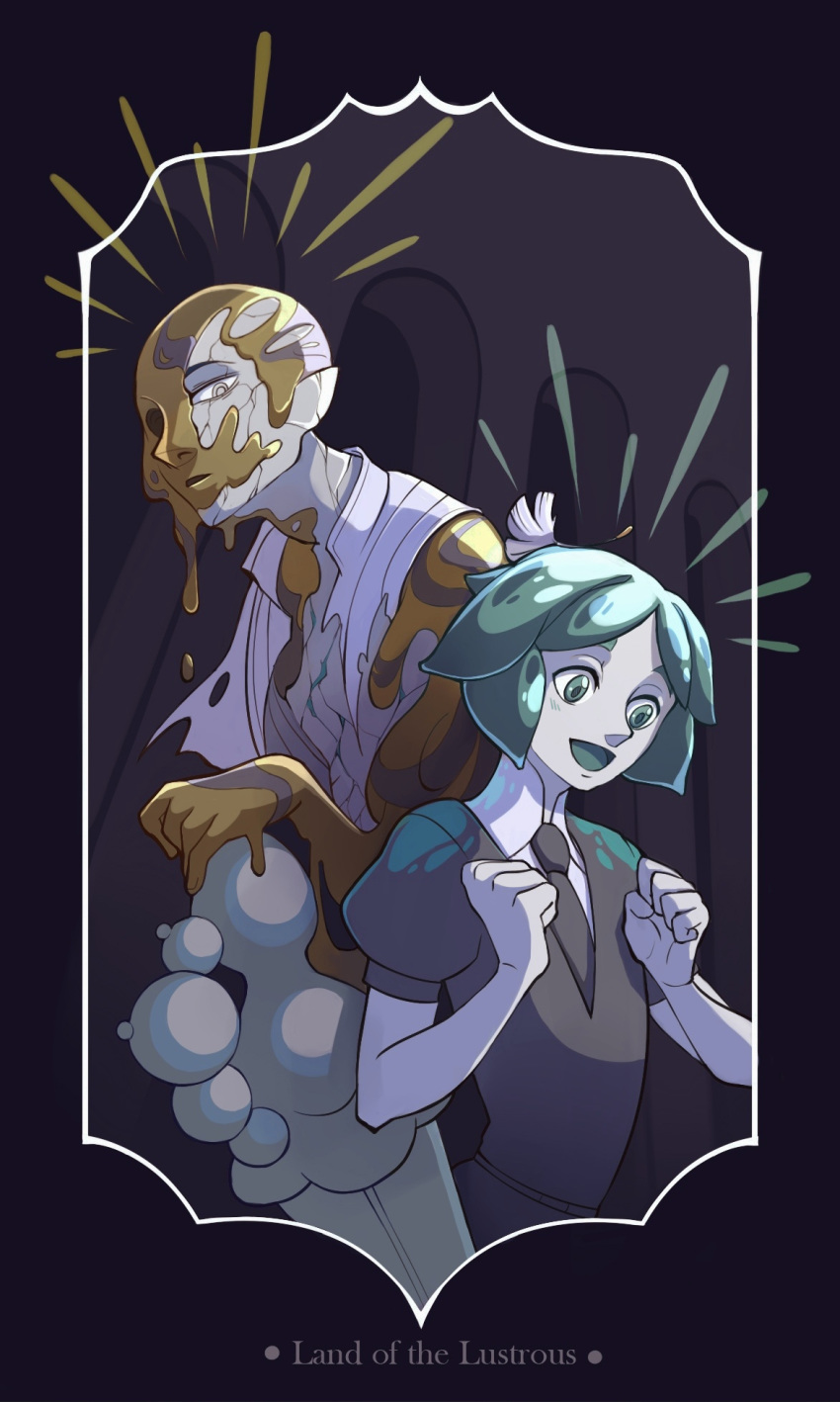 2others copyright_name crack damaged dripping dual_persona green_eyes green_hair grey_eyes highres houseki_no_kuni melting multiple_others necktie object_on_head omadoe open_mouth phosphophyllite pointy_ears puffy_short_sleeves puffy_sleeves seed short_hair short_sleeves spoilers torn_clothes