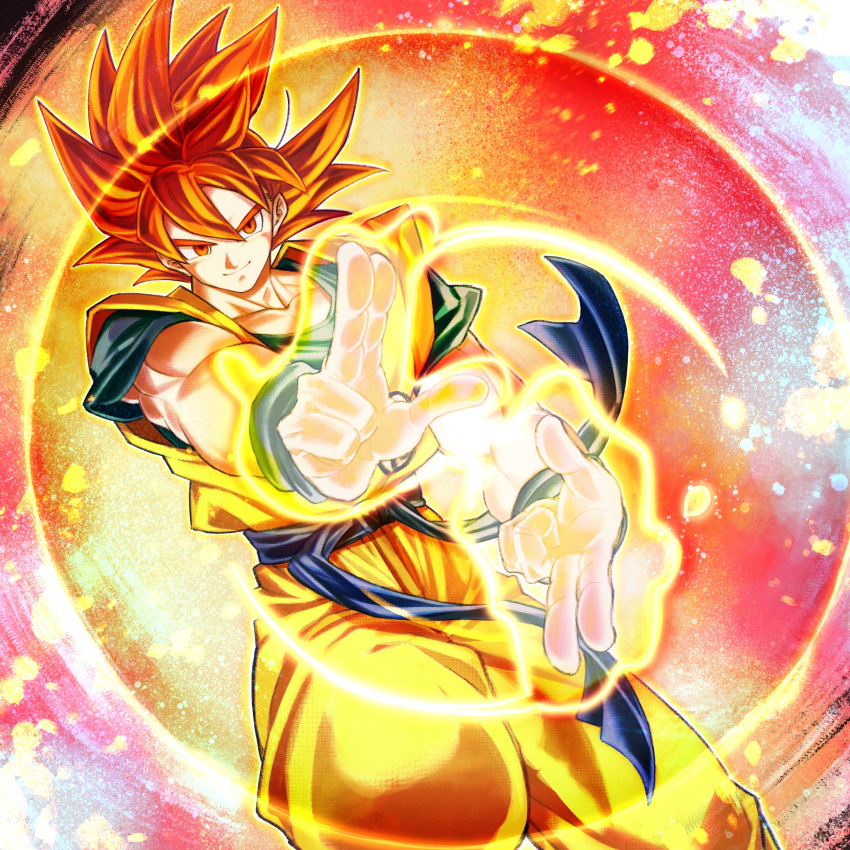 1boy aura closed_mouth dougi dragon_ball dragon_ball_super dragon_ball_super_broly energy fighting_stance highres looking_at_viewer male_focus mattari_illust muscle red_eyes redhead smile solo son_gokuu spiky_hair super_saiyan super_saiyan_god