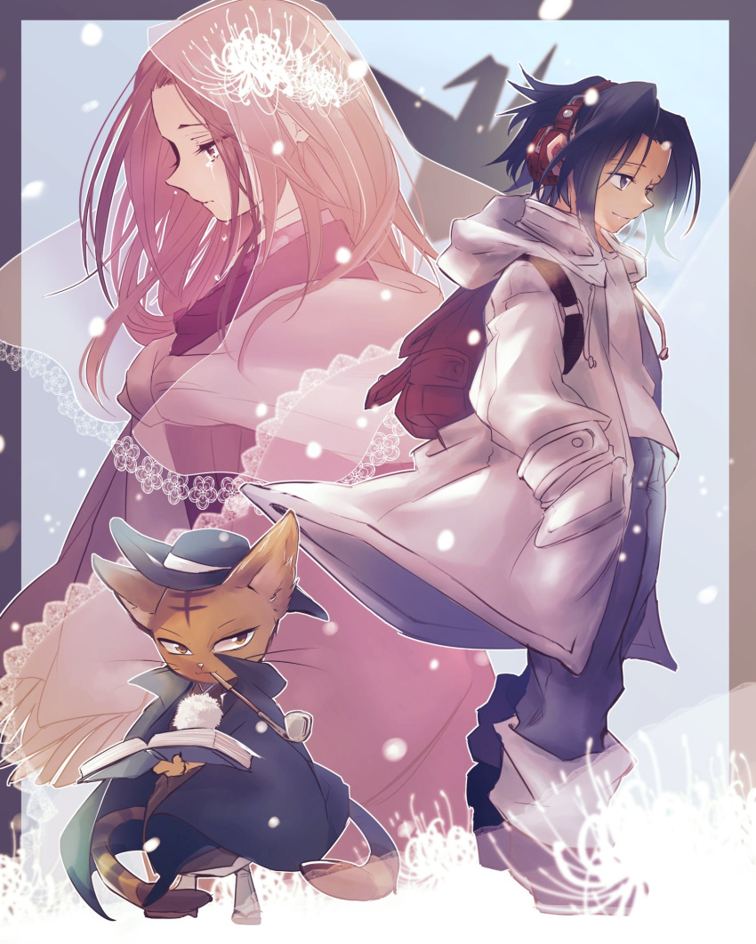 1girl 2boys asakura_you backpack bag black_eyes black_hair book brown_eyes brown_hair cat coat hands_in_pockets hat headphones highres japanese_clothes kimono kiseru kyouyama_anna matamune multiple_boys multiple_tails nekomata origami paper_crane pipe randoseru shaman_king short_hair tabi tail tears tmtm24787088 veil zouri