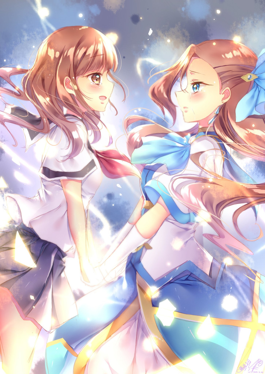2girls artist_name ascot bangs black_sailor_collar black_skirt blouse blue_bow blue_dress blue_neckwear blunt_bangs bow brown_eyes brown_hair commentary crying crying_with_eyes_open dress earrings eyebrows_visible_through_hair from_side gloves hair_bow hair_ornament highres holding_hands jewelry katarina_claes light_frown light_particles long_hair looking_at_another miniskirt multicolored multicolored_background multiple_girls neckerchief open_mouth otome_game_no_hametsu_flag_shika_nai_akuyaku_reijou_ni_tensei_shite_shimatta parted_lips pleated_skirt red_neckwear sailor_collar sasaki_atsuko_(hamefura) school_uniform serafuku short_sleeves signature skirt smile standing tearing_up tears touki_matsuri white_blouse white_gloves