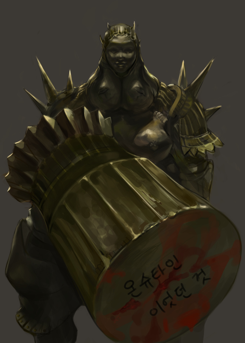 1boy armor brown_background commentary_request dark_souls dokomon executioner_smough facing_viewer fat fat_man full_armor gold_armor hammer helm helmet highres holding holding_weapon huge_weapon male_focus simple_background solo souls_(from_software) standing translation_request weapon