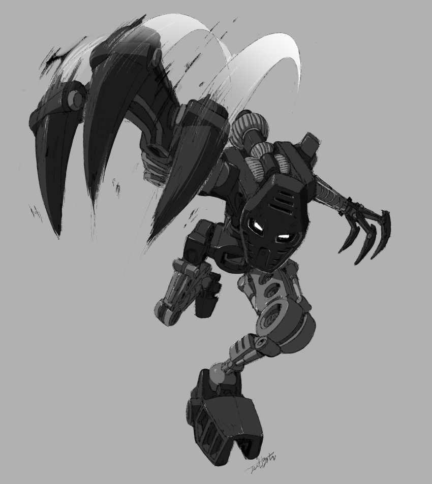 1boy absurdres bionicle claws gears grey_background highres jeetdoh kanohi_(bionicle) mask monochrome no_humans onua_(bionicle) robot slashing the_lego_group white_eyes