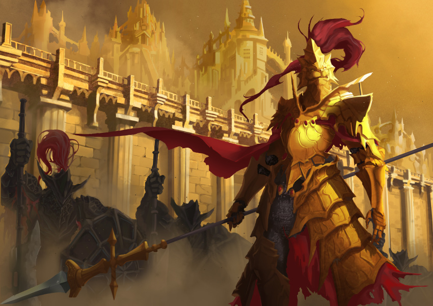 1boy 3others absurdres armor arms_at_sides axe breastplate brick_wall cape commentary dark_souls dark_souls_iii dragon_slayer_ornstein dragonslayer_armour dust_cloud epic facing_viewer faulds feet_out_of_frame full_armor gold_armor greaves helmet highres holding holding_axe holding_shield holding_spear holding_weapon kneeling knight kurozora multiple_others outdoors pauldrons plume polearm red_cape shield shoulder_armor souls_(from_software) spear spire standing tower twilight wall weapon