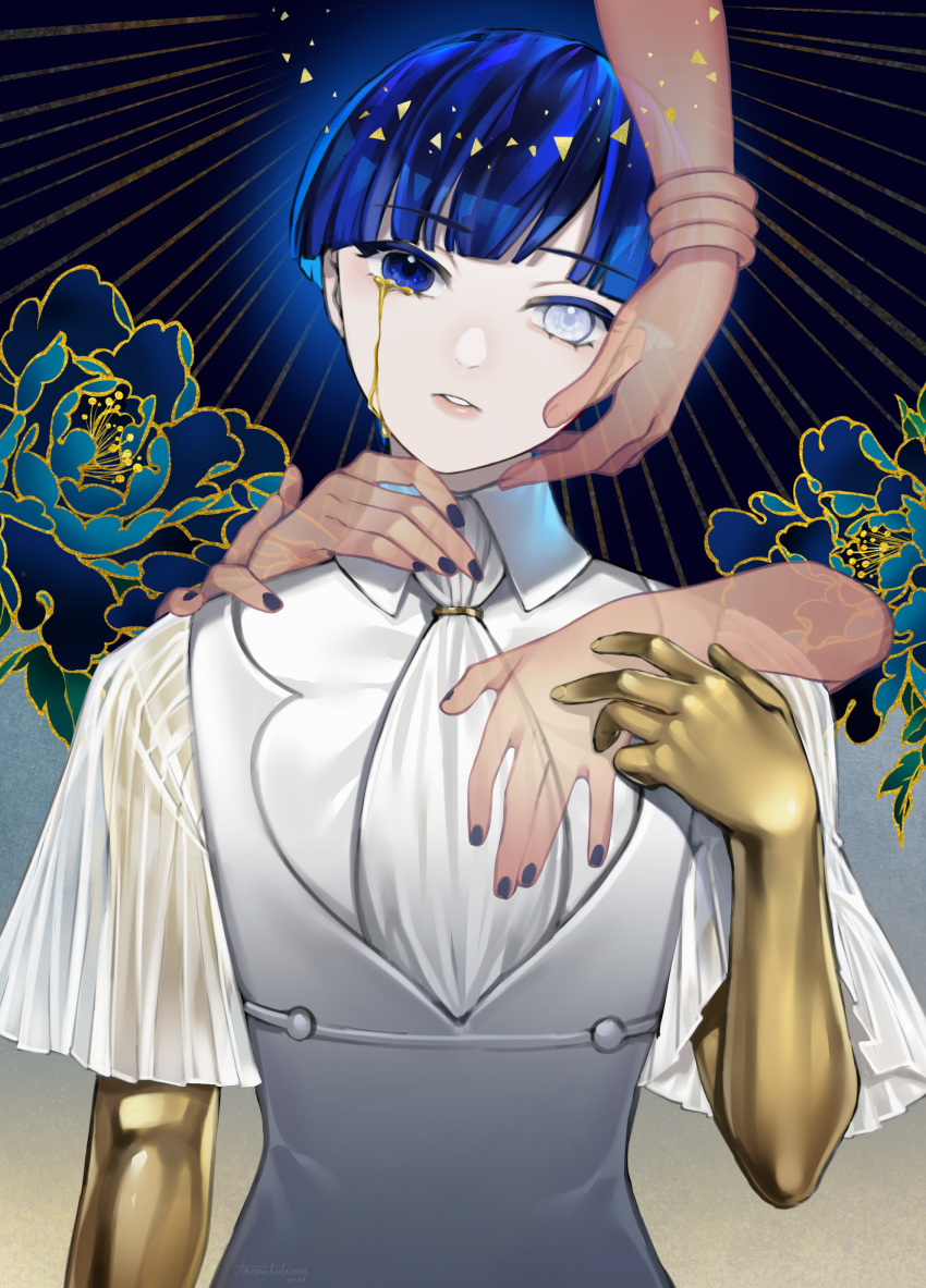 1other absurdres androgynous bangle bangs blue_eyes blue_hair blunt_bangs bracelet collar colored_eyelashes crying crying_with_eyes_open crystal_hair flower gold golden_arms hands head_tilt heterochromia highres houseki_no_kuni jewelry looking_at_viewer phosphophyllite phosphophyllite_(ll) see-through short_hair solo tarantulaines tears upper_body white_eyes