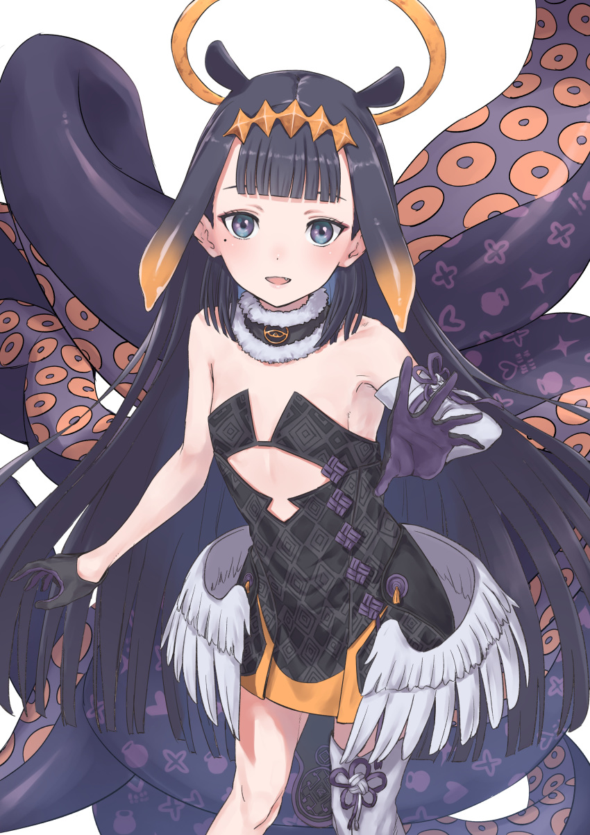 1girl :d absurdres armpits bangs bare_shoulders black_hair blue_eyes blunt_bangs dress fang flat_chest fur_trim g9_(jiiku) gloves halo highres hololive hololive_english long_hair mole mole_under_eye ninomae_ina'nis open_mouth simple_background single_arm_warmer single_thighhigh smile tentacle_hair tentacles thigh-highs virtual_youtuber white_background wings