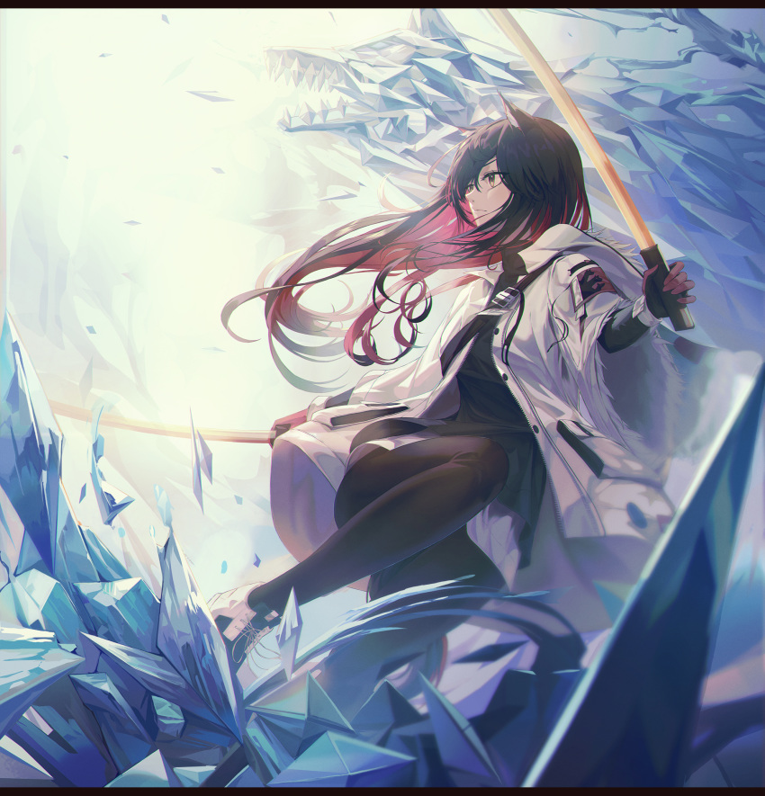 1girl animal_ear_fluff animal_ears arknights bangs black_hair black_legwear buckle fur_trim gloves hair_between_eyes highres holding holding_sword holding_weapon ice jacket long_hair long_sleeves open_clothes open_jacket pantyhose red_gloves redhead shoes sneakers solo sword tail texas_(arknights) weapon white_jacket wolf_ears wolf_girl wolf_tail xeonomi yellow_eyes