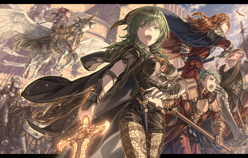 2boys 2girls armor black_coat black_shorts blue_cape breasts brown_hair byleth_(fire_emblem) byleth_(fire_emblem)_(female) cape caspar_von_bergliez coat day feathered_wings ferdinand_von_aegir fire_emblem fire_emblem:_three_houses floating_hair from_below green_eyes green_hair harusame_(rueken) holding holding_polearm holding_sheath holding_sword holding_weapon legwear_under_shorts long_hair medium_breasts midriff multiple_boys multiple_girls navel open_mouth outdoors pantyhose pegasus pegasus_knight petra_macneary polearm redhead riding sheath shiny shiny_hair short_hair short_shorts shorts shoulder_armor stomach sword unsheathing very_long_hair weapon white_wings wings