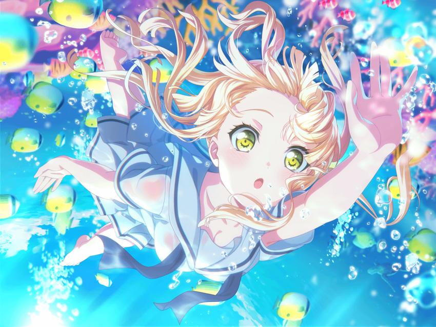bang_dream! blonde_hair blush dress long_hair tsurumaki_kokoro underwater yellow_eyes