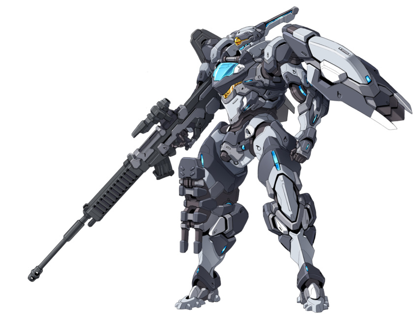 clenched_hand gun holding holding_gun holding_weapon looking_down mecha no_humans original rifle solo standing taedu visor weapon white_background