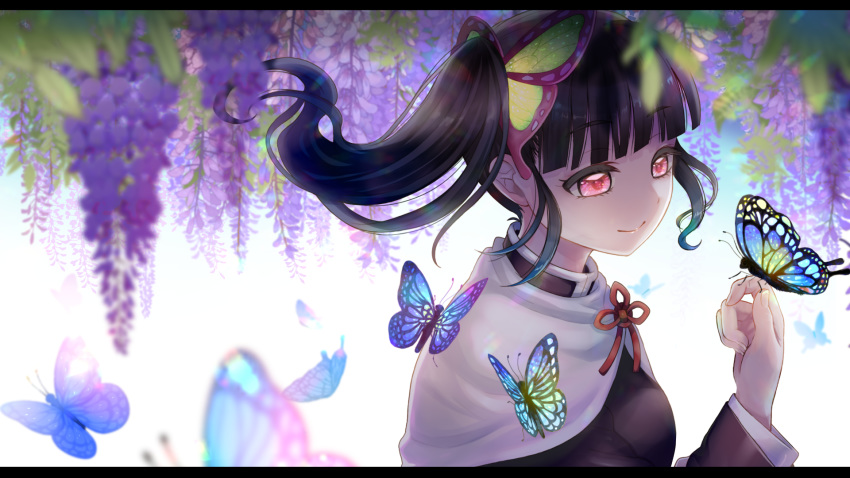 1girl bangs black_hair black_jacket blunt_bangs blurry_foreground butterfly_hair_ornament butterfly_on_hand cape closed_mouth eyebrows_visible_through_hair floating_hair flower from_side hair_ornament highres jacket kimetsu_no_yaiba long_hair long_sleeves mugu1 neck_ribbon pink_eyes purple_flower red_ribbon ribbon shiny shiny_hair side_ponytail smile solo tsuyuri_kanao upper_body white_cape wisteria