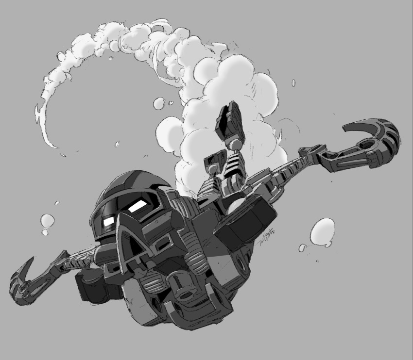 1girl absurdres bionicle gali_(bionicle) gears grey_background highres hook jeetdoh kanohi_(bionicle) mask monochrome no_humans robot swimming the_lego_group white_eyes