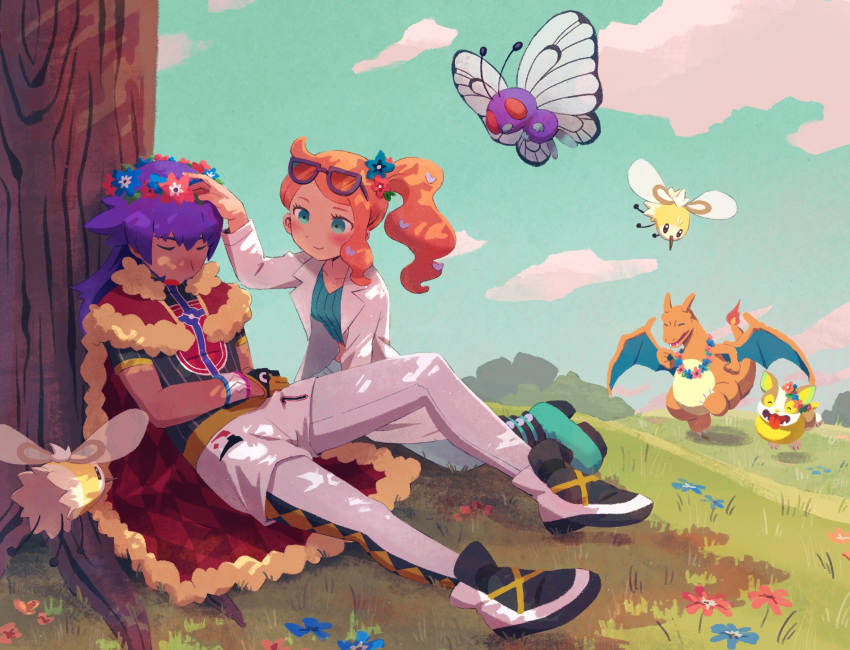 1boy 1girl ^_^ bangs baseball_cap black_gloves black_shirt blue_sky blush boots butterfree cape charizard closed_eyes closed_mouth clouds commentary_request cutiefly day dynamax_band eyewear_on_head fangs fiery_tail flower flying fur-trimmed_cape fur_trim gen_1_pokemon gen_7_pokemon gen_8_pokemon glasses gloves grass green_eyes green_footwear green_shirt grey_pants hair_flower hair_ornament happy hat head_wreath heart heart_hair_ornament highres iroidori4422 labcoat leggings leon_(pokemon) long_hair looking_at_another open_mouth orange_hair outdoors pants partly_fingerless_gloves pokemon pokemon_(creature) pokemon_(game) pokemon_swsh print_shirt purple-framed_eyewear purple_hair red_cape shirt shoes shorts side_ponytail sitting sky sleeping sleeping_upright smile sonia_(pokemon) tail tongue tongue_out tree white_legwear white_shorts yamper