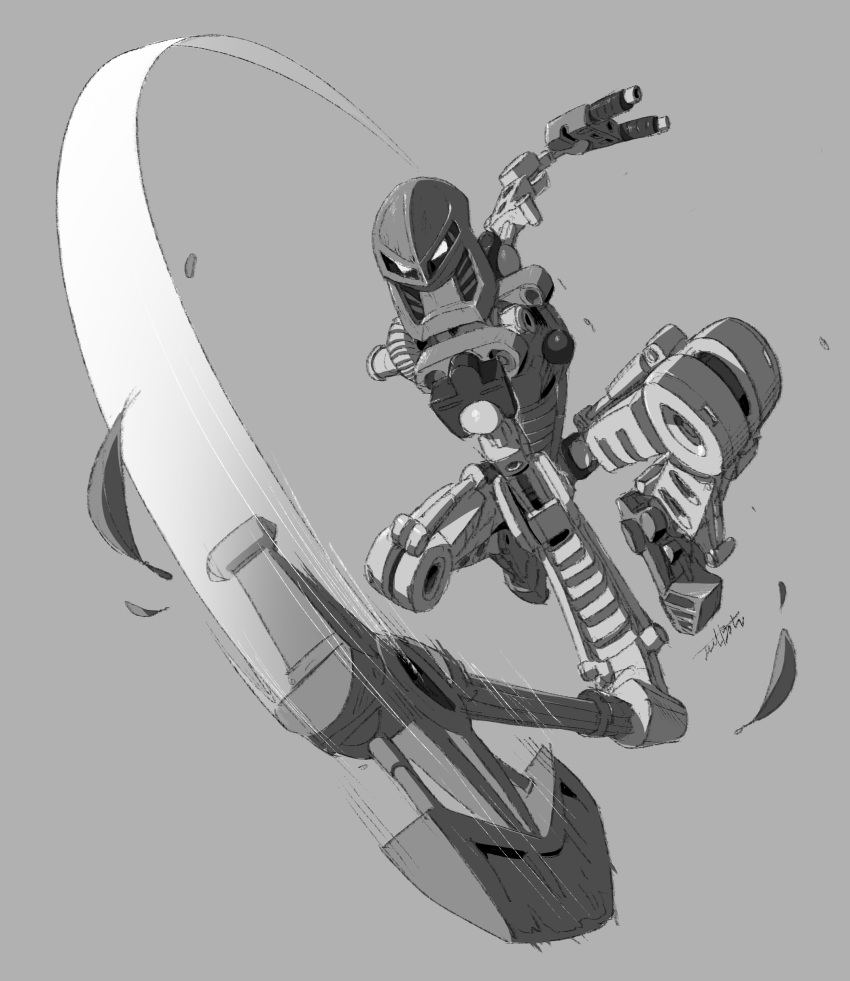 1boy absurdres axe bionicle chopping gears grey_background highres jeetdoh kanohi_(bionicle) leaf lewa_(bionicle) monochrome no_humans robot the_lego_group weapon white_eyes