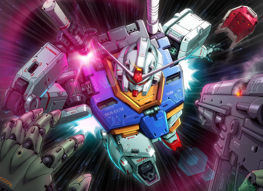 beam_saber charging_forward commentary damaged flying gun gundam highres holding holding_gun holding_weapon jazz_kawa_sodom mecha mobile_suit_gundam no_humans open_hand pov rx-78-2 sheath shield solo_focus space unsheathing weapon zaku
