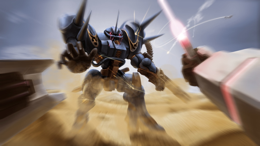 arm_cannon battle beam_saber clouds commentary commentary_request condensation_trail desert dust flying glowing glowing_eyes gouf gundam highres johnsonwaye mecha mobile_suit_gundam motion_blur no_humans original realistic red_eyes redesign rx-78-2 science_fiction shield spikes weapon zeon