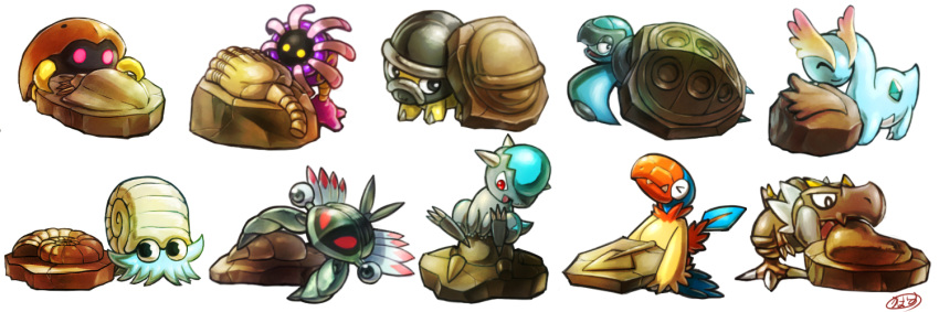 >_< amaura anorith archen black_eyes closed_eyes closed_mouth commentary cranidos fangs fossil gen_1_pokemon gen_3_pokemon gen_4_pokemon gen_5_pokemon gen_6_pokemon glowing glowing_eyes kabuto_(pokemon) kaosu_(kaosu0905) lileep looking_back looking_down looking_to_the_side no_humans omanyte open_mouth pink_eyes pokemon pokemon_(creature) red_eyes shieldon signature sitting smile tirtouga tongue tyrunt watermark white_background