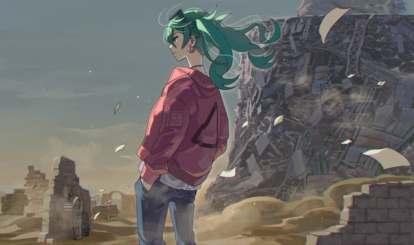 1girl 1other ambiguous_gender aqua_eyes bangs blue_pants brick_wall choker day desert dust_cloud earrings eyewear_on_head feet_out_of_frame floating_hair from_behind green_hair hand_in_pocket hatsune_miku highres hood hood_up jacket jewelry jumpsuit kyarairo long_hair outdoors pants paper paw_print poster_(object) profile red_jacket ruins sand sky solo_focus standing suna_no_wakusei_(vocaloid) sunglasses twintails vocaloid wind