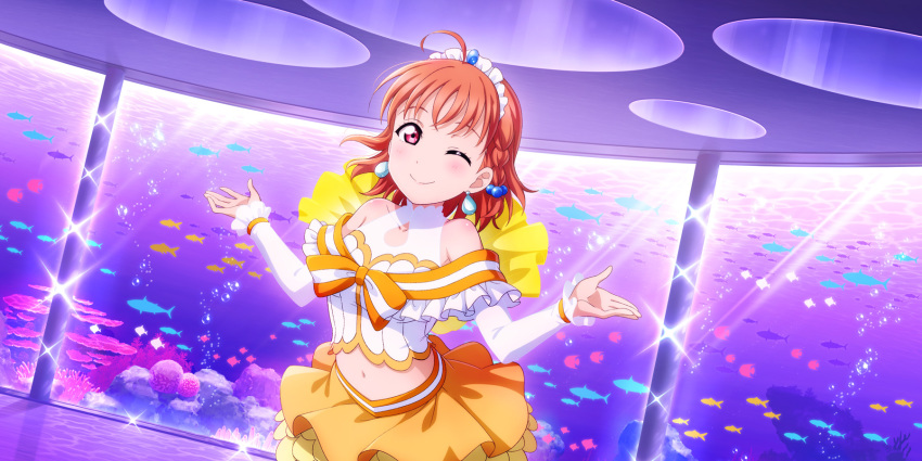 ahoge blush dress gloves love_live!_school_idol_festival_all_stars orange_hair red_eyes short_hair smile takami_chika wink
