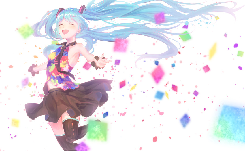 1girl absurdres aqua_hair armpits bare_shoulders black_legwear black_neckwear black_skirt blurry blurry_background closed_eyes commentary confetti cowboy_shot hair_ornament hatsune_miku highres leg_up long_hair miniskirt multicolored_shirt necktie open_mouth outstretched_arms pleated_skirt scrunchie shirt skirt sleeveless sleeveless_shirt smile solo tell_your_world_(vocaloid) thigh-highs twintails very_long_hair vocaloid white_background wrist_scrunchie yuzuha_wasa zettai_ryouiki