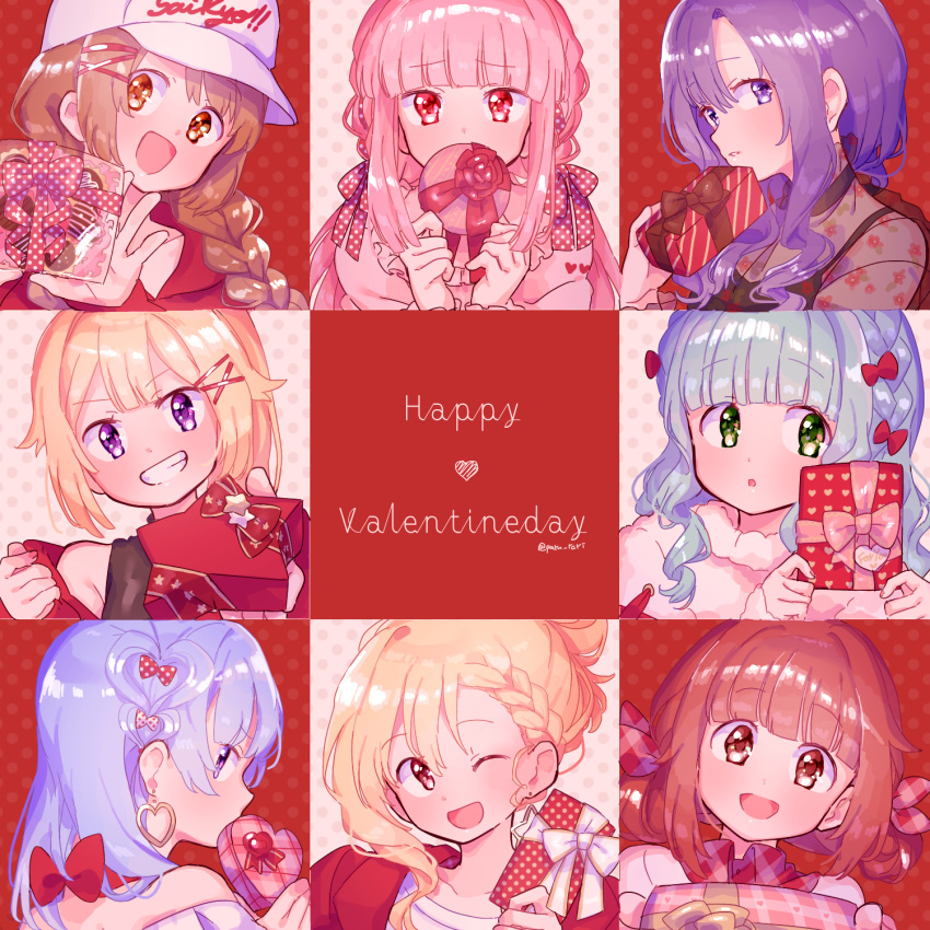 6+girls :o ;d akino_kaede alternate_costume alternate_hair_ornament alternate_hairstyle alternate_headwear bangs bare_shoulders baseball_cap beige_background black_ribbon blonde_hair blue_eyes blue_hair blunt_bangs box braid brown_eyes brown_hair candy casual chocolate chocolate_heart choker close-up collarbone commentary_request covering_mouth cross-laced_clothes curly_hair dot_nose double_bun earrings english_text eyebrows_visible_through_hair face facing_viewer fashion fingernails floral_print food formal frilled_sleeves frills frown fur fur_sweater furrowed_eyebrows futaba_sana gift gift_box green_eyes green_hair grin hair_ornament hair_ribbon hairclip half-closed_eyes hand_up hands_up happy happy_valentine hat head_tilt heart heart-shaped_box heart_hair high_collar highres hood hood_down hoodie jewelry light_blush long_sleeves looking_afar looking_at_viewer looking_back magia_record:_mahou_shoujo_madoka_magica_gaiden mahou_shoujo_madoka_magica minami_rena mitsuki_felicia multiple_girls nanami_yachiyo off_shoulder one_eye_closed open_mouth outstretched_hand parted_lips paru_rari pink_eyes pink_hair pink_nails pink_ribbon pink_sweater plaid plaid_ribbon polka_dot polka_dot_background polka_dot_ribbon profile puffy_sleeves red_background red_eyes red_hoodie red_ribbon ribbon ribbon_choker see-through shiny shiny_hair shy sidelocks smile spaghetti_strap star-shaped_box striped sweater sweets symbol_commentary tamaki_iroha tied_hair togame_momoko twin_braids twitter_username upper_body violet_eyes white_headwear x_hair_ornament yui_tsuruno