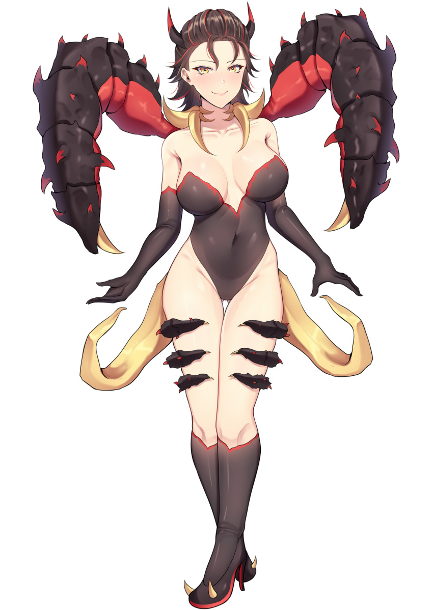 1girl band-width bare_shoulders claws closed_mouth commission deep_rock_galactic elbow_gloves english_commentary full_body gloves glyphid_dreadnought high_heels highres horns looking_at_viewer monster_girl navel personification simple_background smile solo standing white_background yellow_eyes