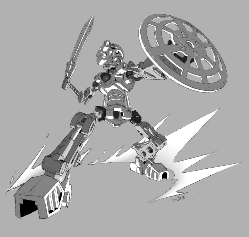 1boy absurdres bionicle gears grey_background highres jeetdoh kanohi_(bionicle) kopaka_(bionicle) mask monochrome no_humans robot shield sword the_lego_group weapon