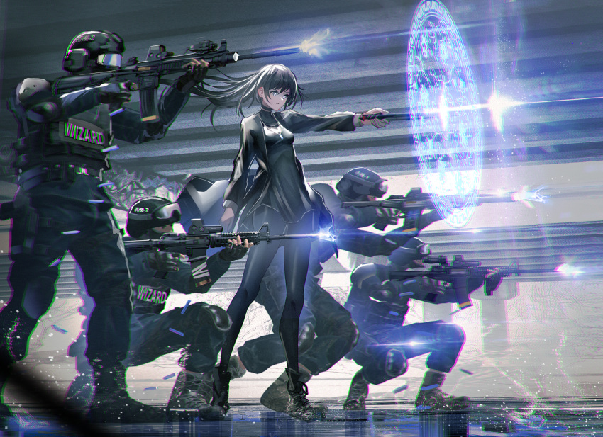 1girl 4boys bangs black_dress black_footwear black_gloves black_hair black_headwear black_jacket black_legwear black_pants boots breasts clothes_writing commentary cross-laced_footwear dress english_text firing floating_hair from_side gloves goggles gun helmet highres holding holding_gun holding_wand holding_weapon jacket lace-up_boots long_hair long_sleeves looking_away magic multiple_boys original outstretched_arm pants pantyhose small_breasts squatting standing swav very_long_hair wand weapon weapon_request