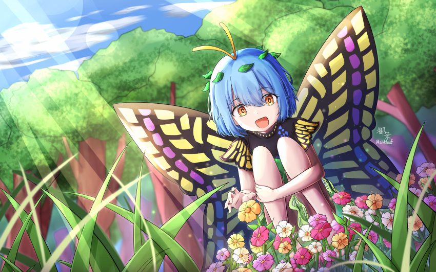 1girl :d absurdres antennae arm_around_leg bare_legs blue_hair blurry bright_pupils butterfly_wings clouds commentary_request day depth_of_field dress dutch_angle eternity_larva eyebrows_visible_through_hair eyes_visible_through_hair flower grass green_skirt hair_between_eyes hair_ornament happy highres holding_legs leaf_hair_ornament light_rays multicolored multicolored_clothes multicolored_dress open_mouth orange_eyes reaching short_hair signature skirt sky smile squatting sunlight symbol_commentary touhou tree wings yu_cha