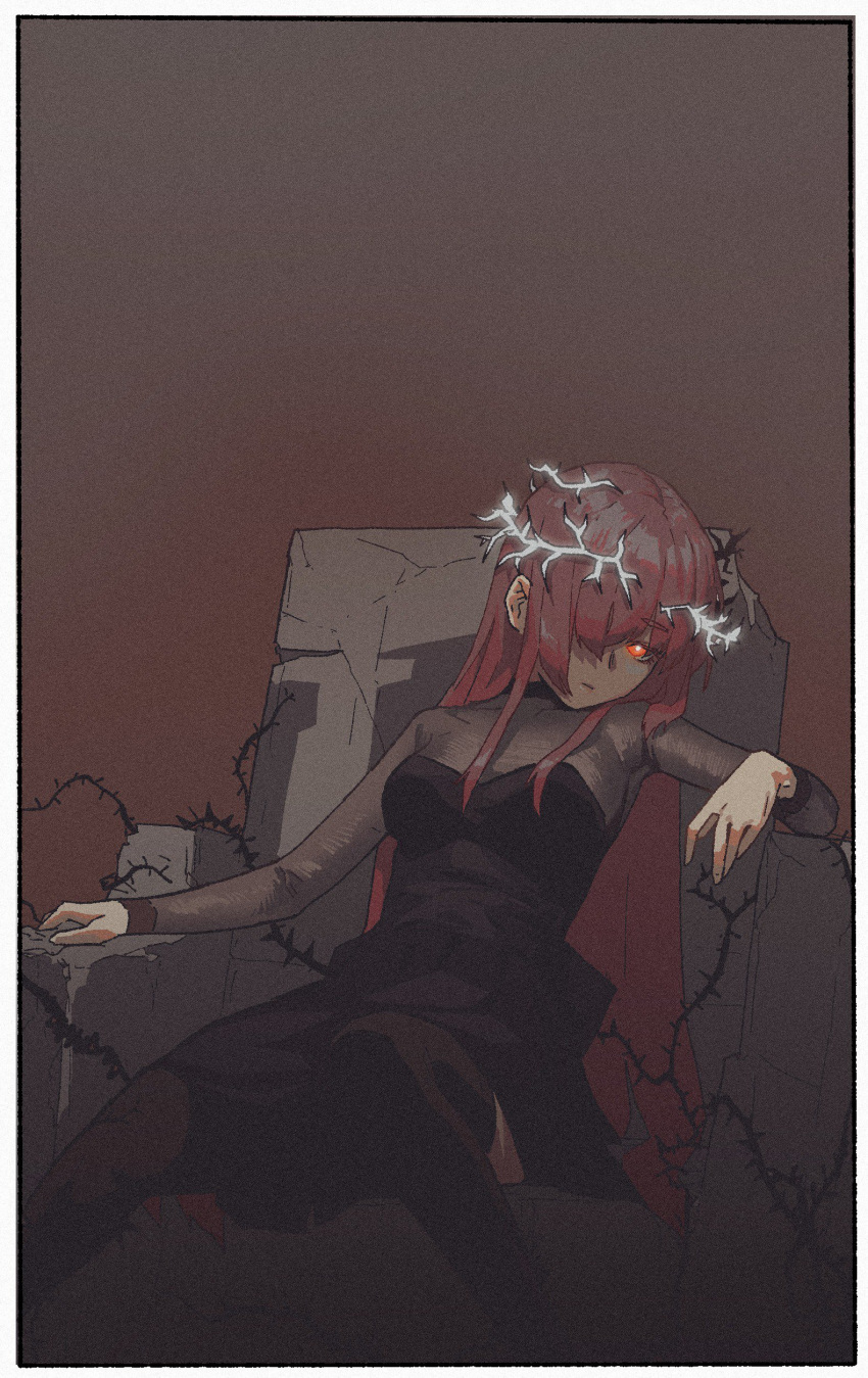 1girl absurdres black_dress bodystocking bright_pupils broken brown_legwear closed_mouth crown_of_thorns dress gogalking hair_over_one_eye highres long_hair looking_at_viewer one_eye_covered original pink_hair reclining red_eyes short_dress sitting solo thigh-highs throne white_pupils