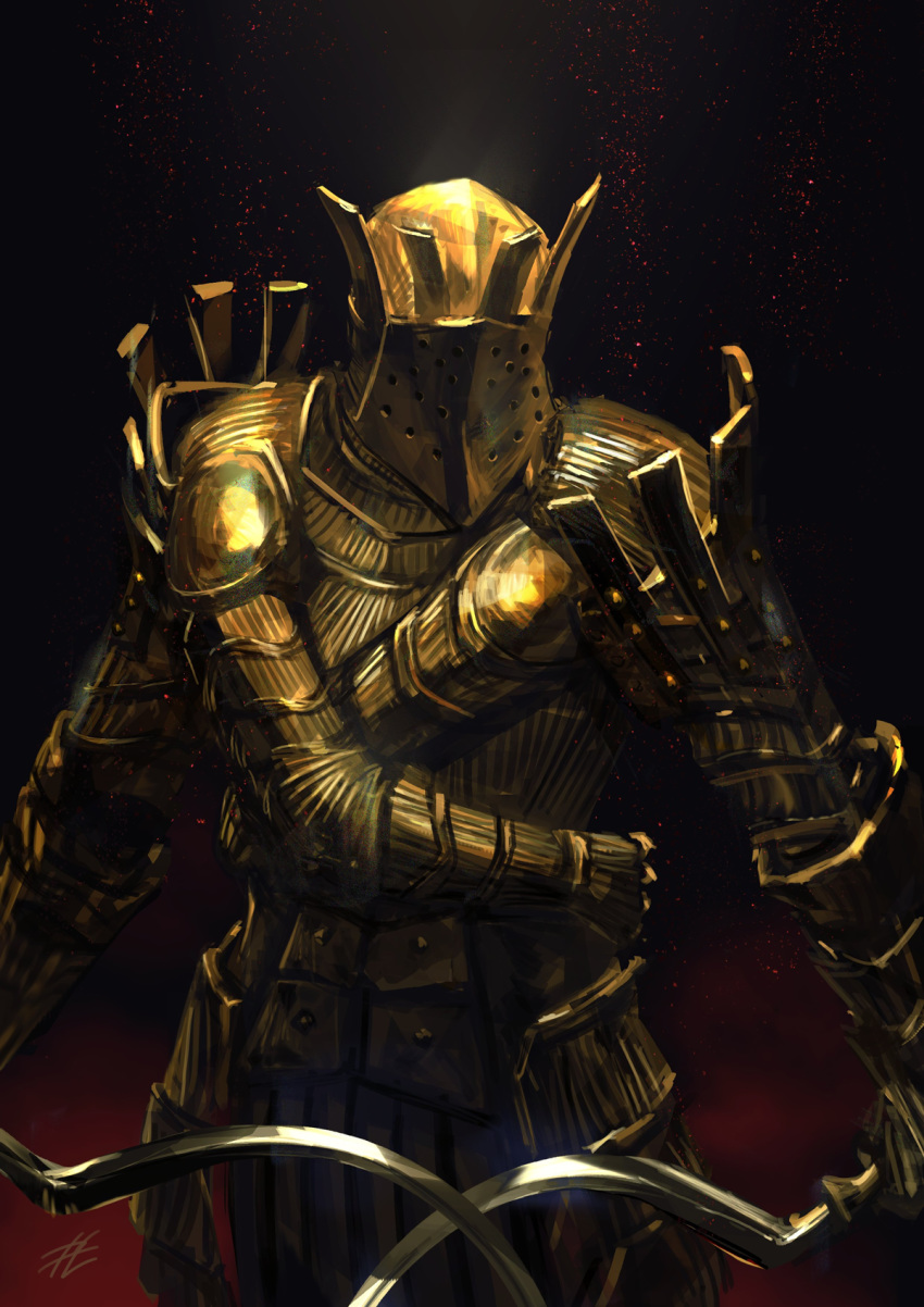 1boy armor black_background breastplate cowboy_shot dark_souls dual_wielding facing_viewer faulds full_armor gauntlets gold_armor helmet highres holding holding_weapon knight knight_lautrec_of_carim light_particles male_focus mrpk red_background shotel shoulder_armor signature solo souls_(from_software) spaulders standing sword two-tone_background weapon
