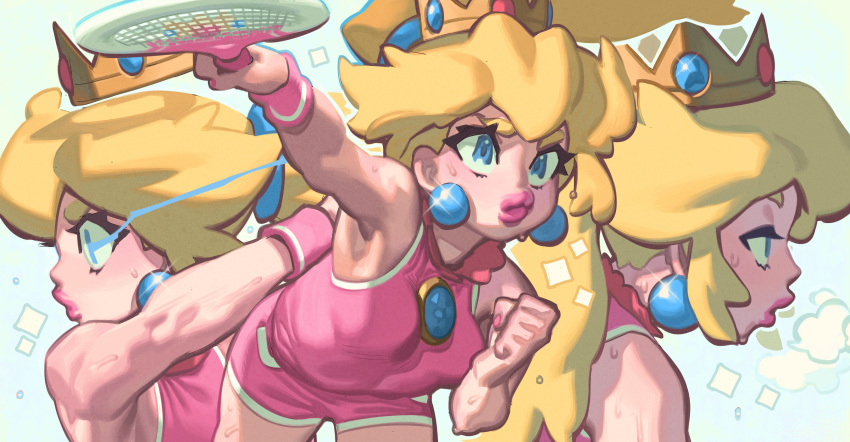 1girl armpits blonde_hair blue_eyes breath brooch crown gloss highres jewelry mario_(series) mario_tennis mini_crown outstretched_arms princess_peach racket short_shorts shorts sleeveless sportswear tennis_racket tennis_uniform thick_lips toned wristband