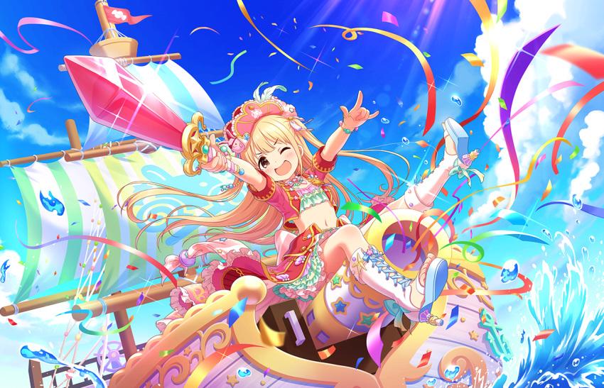 black_eyes blonde_hair blush dress futaba_anzu idolmaster_cinderella_girls_starlight_stage long_hair smile sword wink