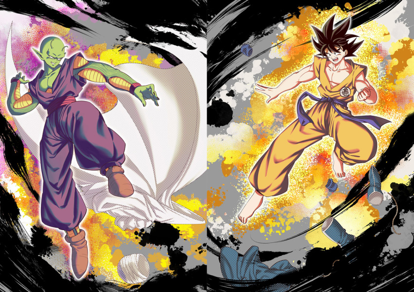 2boys :d barefoot black_hair cape cape_removed dougi dragon_ball dragon_ball_(classic) fighting_stance footwear_removed full_body green_skin grin headwear_removed male_focus mattari_illust multiple_boys muscle open_mouth pectorals piccolo pointy_ears smile son_gokuu white_cape