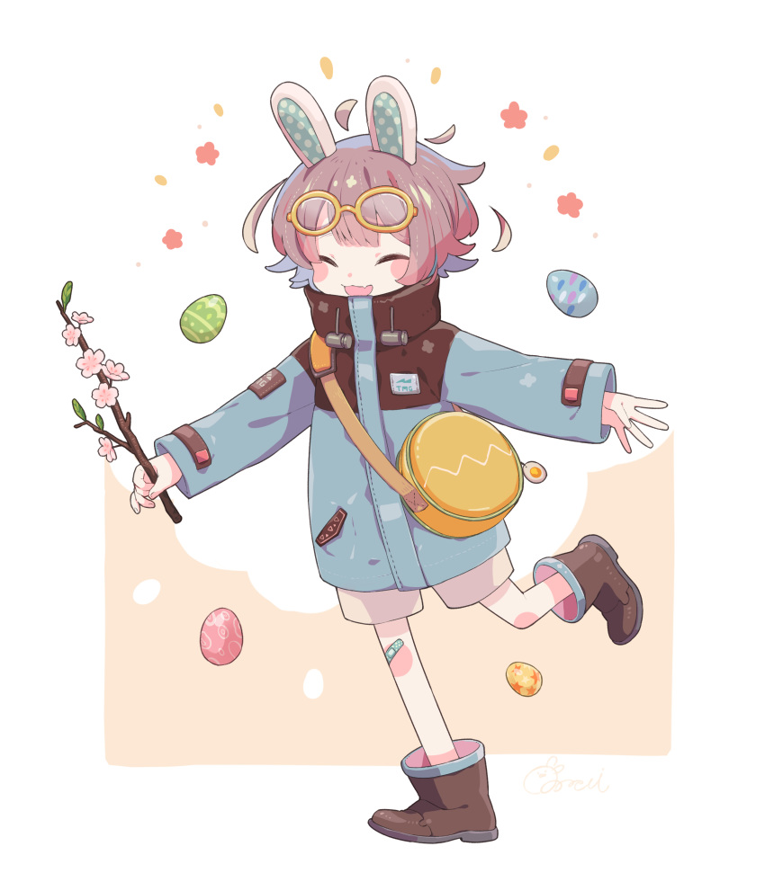 1other absurdres animal_ears bag bandaid bandaid_on_knee blue_coat blush boots branch brown_footwear brown_hair cherry_blossoms child closed_eyes coat easter_egg egg eyewear_on_head fang flower glasses high_collar highres holding holding_branch open_mouth original pink_flower rabbit_ears running short_hair shorts shoulder_bag skin_fang smile solo sorata123 standing standing_on_one_leg two-tone_background white_shorts yellow-framed_eyewear