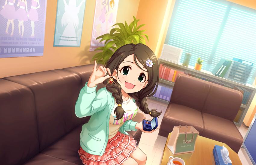 akanishi_erika blush brown_eyes brown_hair dress idolmaster_cinderella_girls_starlight_stage long_hair smile twin_braids