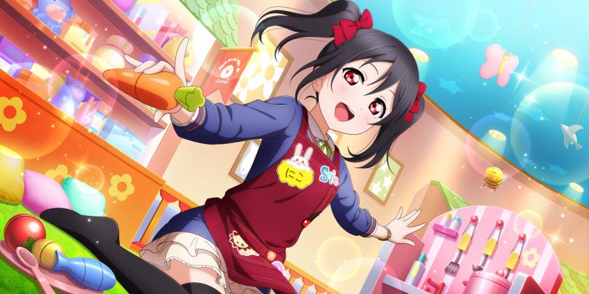 apron black_hair blush dress long_hair love_live!_school_idol_festival_all_stars red_eyes smile twintails yazawa_nico