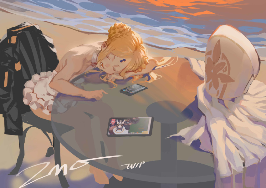 1girl abigail_williams_(fate/grand_order) abigail_williams_(swimsuit_foreigner)_(fate) absurdres bangs bare_shoulders beach black_bow black_jacket blonde_hair blue_eyes bow braid braided_bun breasts chair closed_eyes double_bun dress_swimsuit fate/grand_order fate_(series) forehead highres jacket keyhole long_hair mitre multiple_bows open_mouth orange_bow parted_bangs shore sidelocks small_breasts swimsuit table twintails very_long_hair white_headwear white_swimsuit zhoumo_fangjia