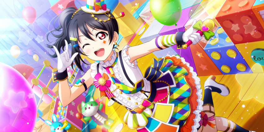 black_hair blush dress long_hair love_live!_school_idol_festival_all_stars red_eyes side_ponytail smile toys wink yazawa_nico