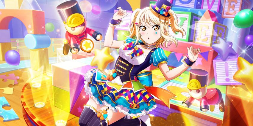 blonde_hair blush dress love_live!_school_idol_festival_all_stars miyashita_ai short_hair twintails yellow_eyes